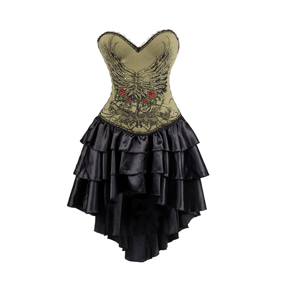 Army-Green-Cotton-Floral-Printed-Strapless-Push-Up-font-b-Corsets-b-font-And-Bustiers-Gothic