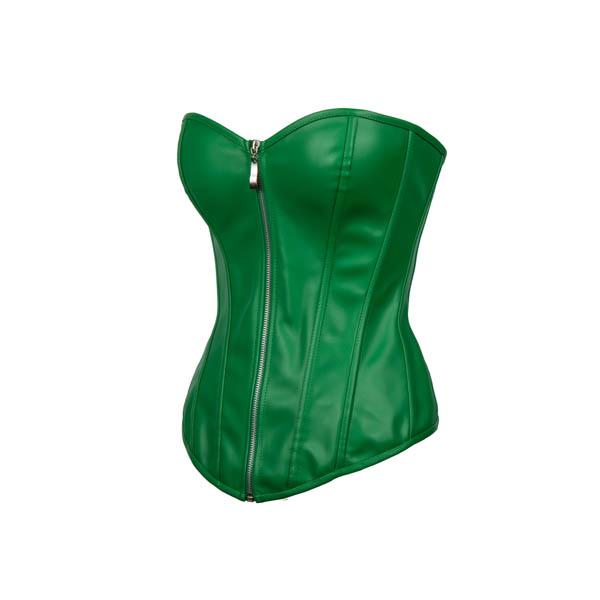 Factory-price-Zipper-Green-font-b-Leather-b-font-Gothic-font-b-Corset-b-font-Dress