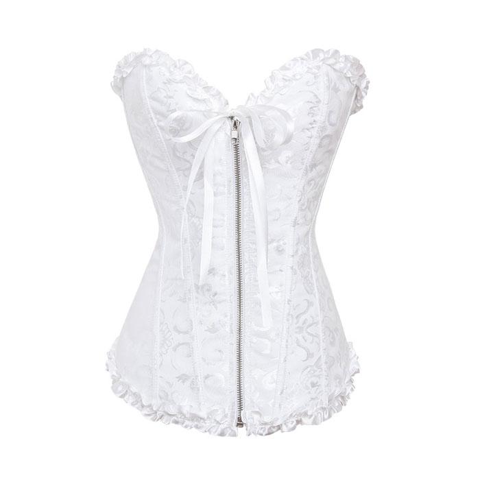 Zipper-Front-Jacquard-Overbust-font-b-Corset-b-font-White-font-b-Bridal-b-font-Sexy